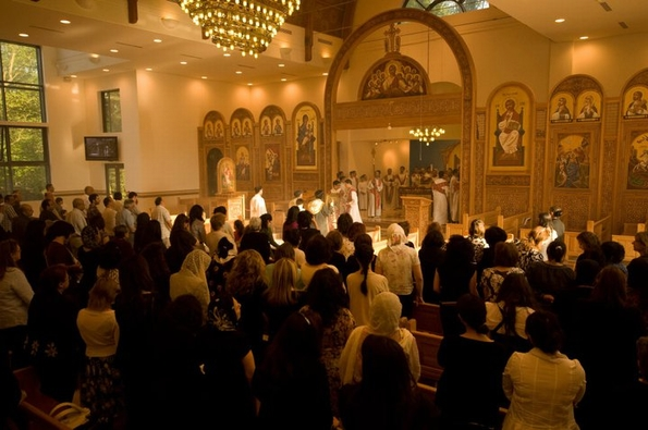 Easter worship at the Coptic Orthodox Cathedral in Stevenage, England