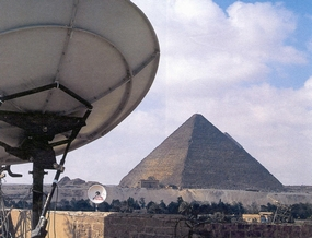 Satellite dish and Egyptian pyramid