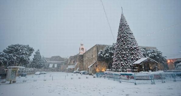 Snowladed Manger Square, Bethlehem, December 2013
