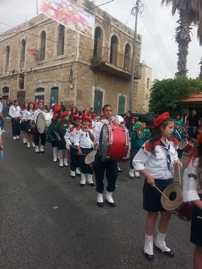 Drummers await the Holy Fire in Beit Jala near Bethlehem