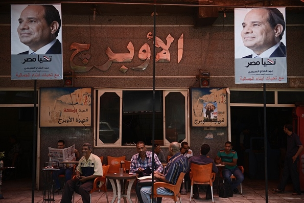 Cafe in Gamaliya, Cairo, 26 May, showing its support for Al-Sisi. Photo (c) Jonathan Rashad
