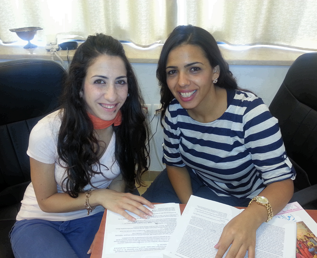 Grace with Amira, a student at Bethlehem Bible College