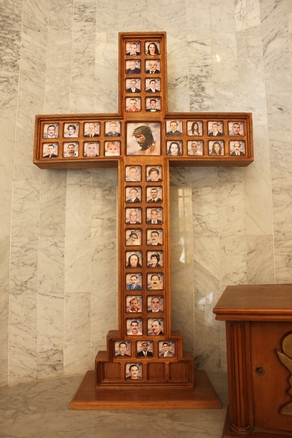 Memorial to 58 Christians killed in a Baghdad church in 2010