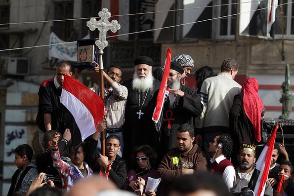 Coptic Christians joined other protesters to end Hosni Mubarak's rule (Aschevoge, Flickr Commons)