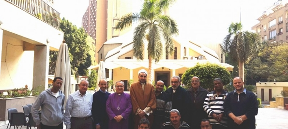 Bishop Mouneer with guests from the local mosque at the Cairo diocese offices