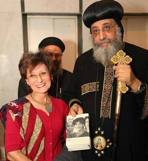 Nada Thabet with Pope Tawadros of the Coptic Church