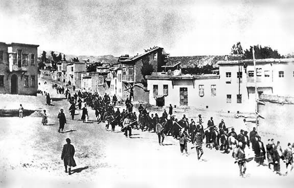 Armenians force marched from their homes in 1915 (anonymous photographer, Wikipedia)