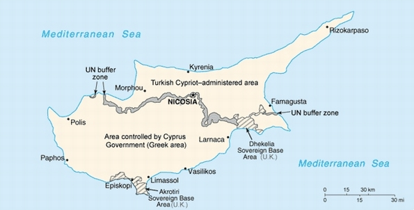 Divided Cyprus (CIA World Factbook/Wikimedia CC)
