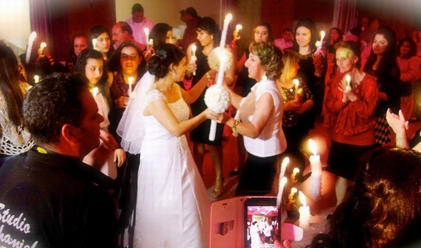 Transfigured by candles on Grace's wedding day
