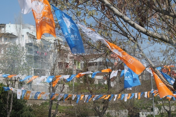 Flying the flag: AKP bunting in Istanbul