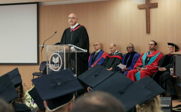 Arab Baptist Seminary in Beirut: college president Elie Haddad congratulates graduates (courtesy ABTS)