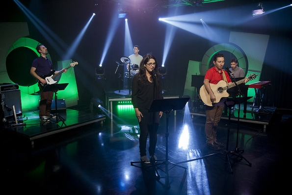 Purpose-driven worship: group recording praise songs for new TV series