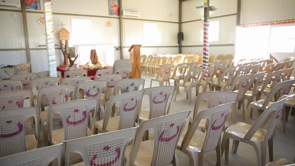 Christians at a refugee camp in Iraq painted the IS 'N' for Nazarene (Christian) on seats as a badge of honour