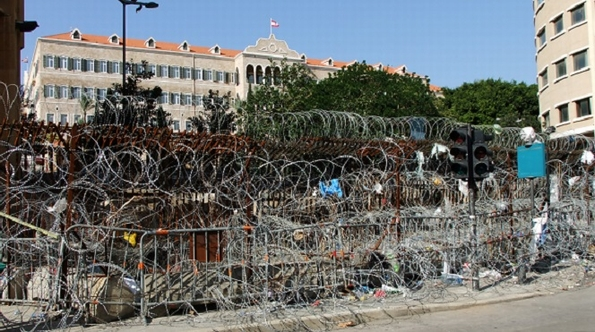 Scene of recent protests: the barrier before Lebanon's government buildings (L Shaw/SAT-7)