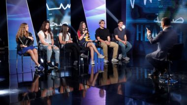 Six young teens talk to show host