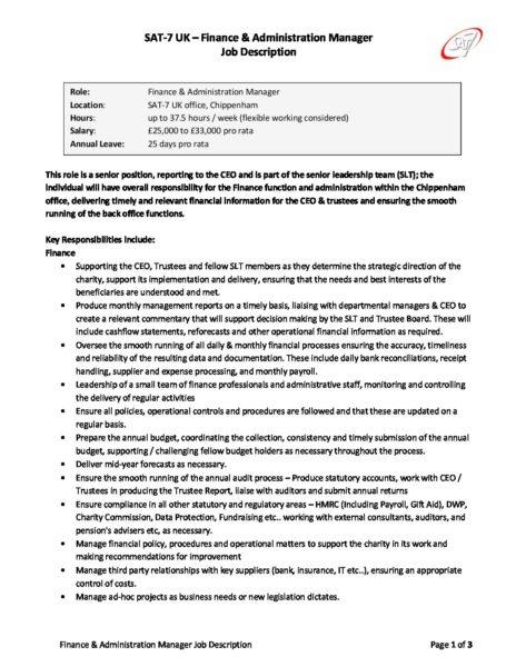 FAMDec17 Finance & Admin Manager - Job Description » SAT-7 UK