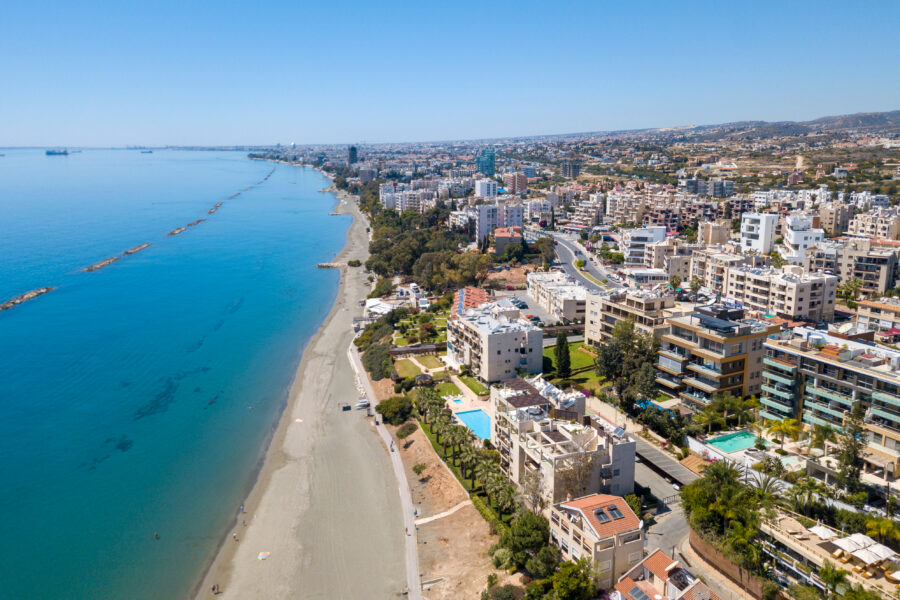 An aerial image of Limassol, a coastal city in Cyprus