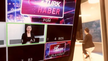 View of SAT-7 TURK news show from control room