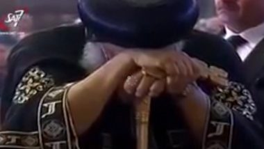 A visibly shocked Pope Tawadros led prayers for victims of the Cairo church bombing