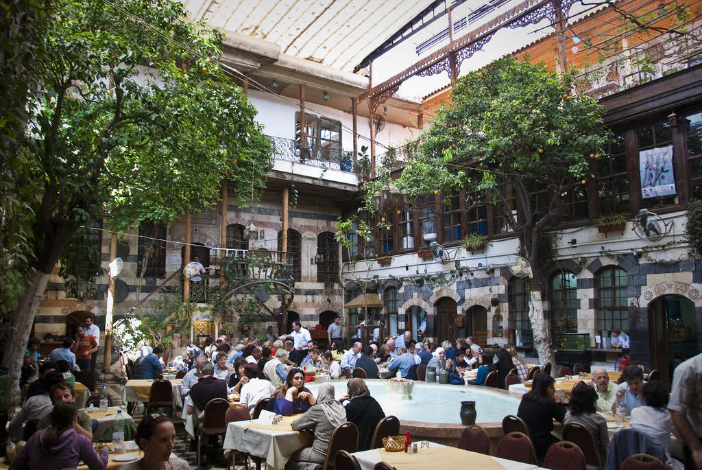 Diners at large courtyard restaurant