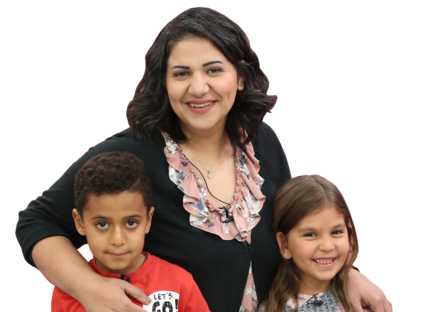 Asnat Awad, presenter of parenting show Keys to My Kid, with two child guests