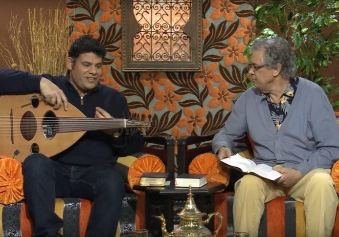 "David Ezzine (right) with worship leader Munir on ""Worship at Home"""